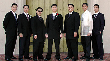 Me in barong among friends in suits