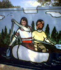 Me and Amy at the Canoe Pillory.