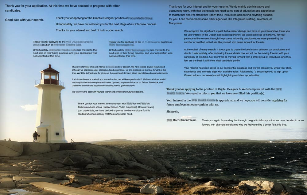 Lighthouse and choppy sea, with text of various rejections floating in the sky